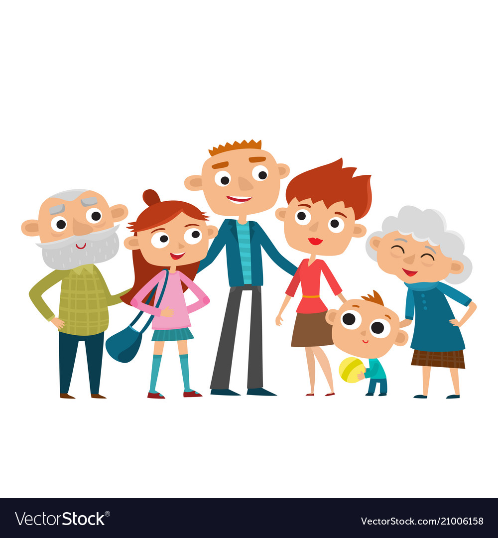 Happy big family in love vector image