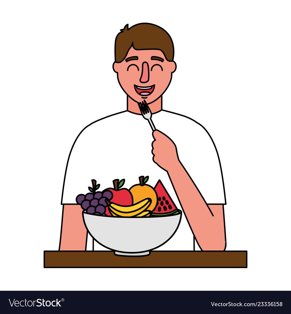 Man Eating Fruits Healthy Food Royalty Free Vector Image