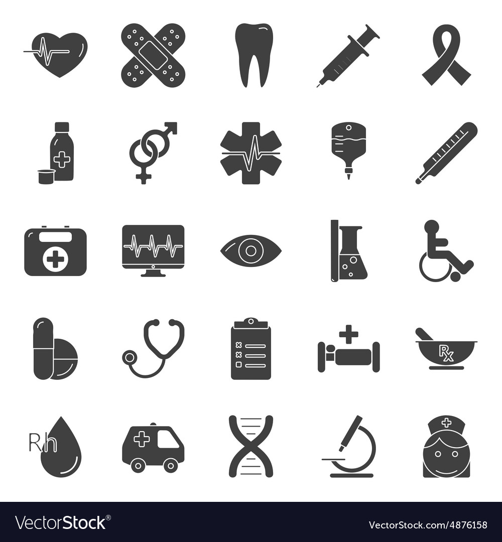 Medical silhouette icons set vector image