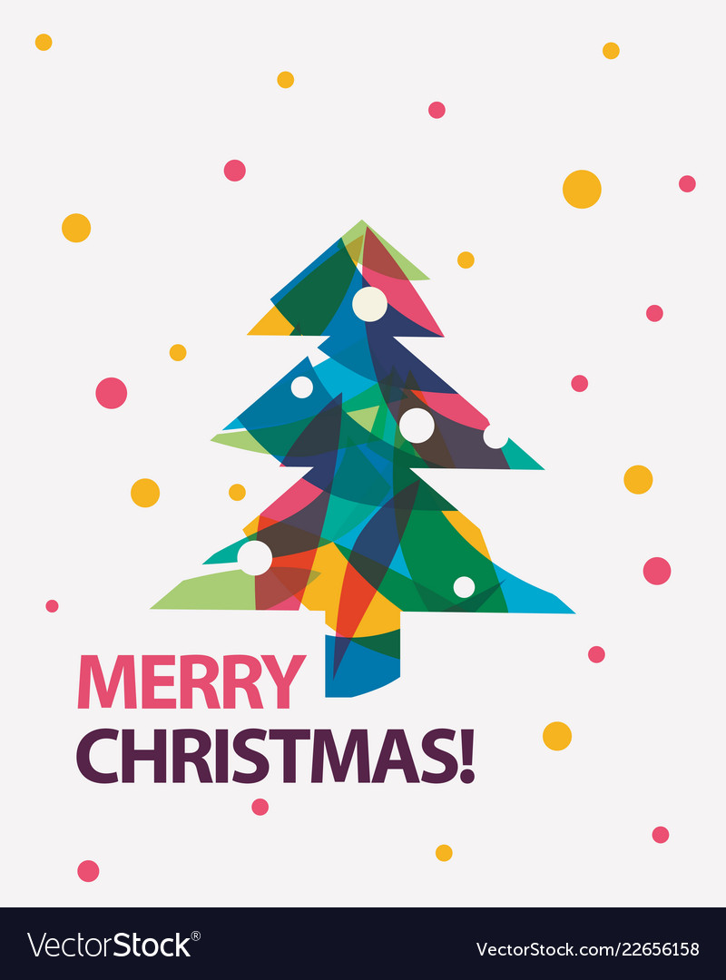 Merry christmas card in modern Royalty Free Vector Image