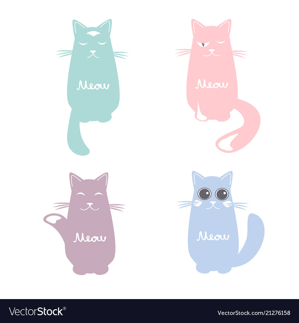 Set of cartoon images of cute cats