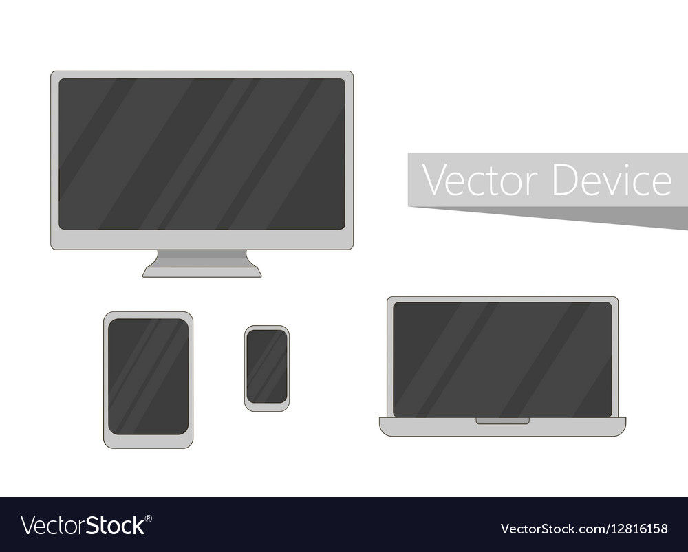 Set of electronic devices icon Flat design devices