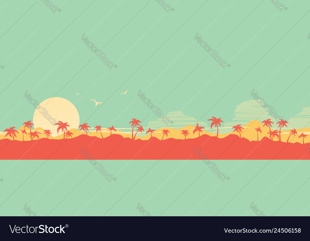 Tropical island paradise background with palms