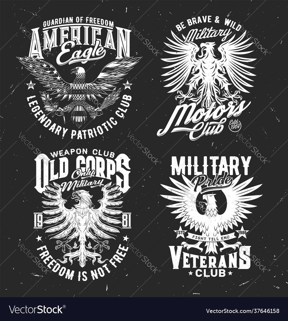 Tshirt prints with eagle mascot for military club