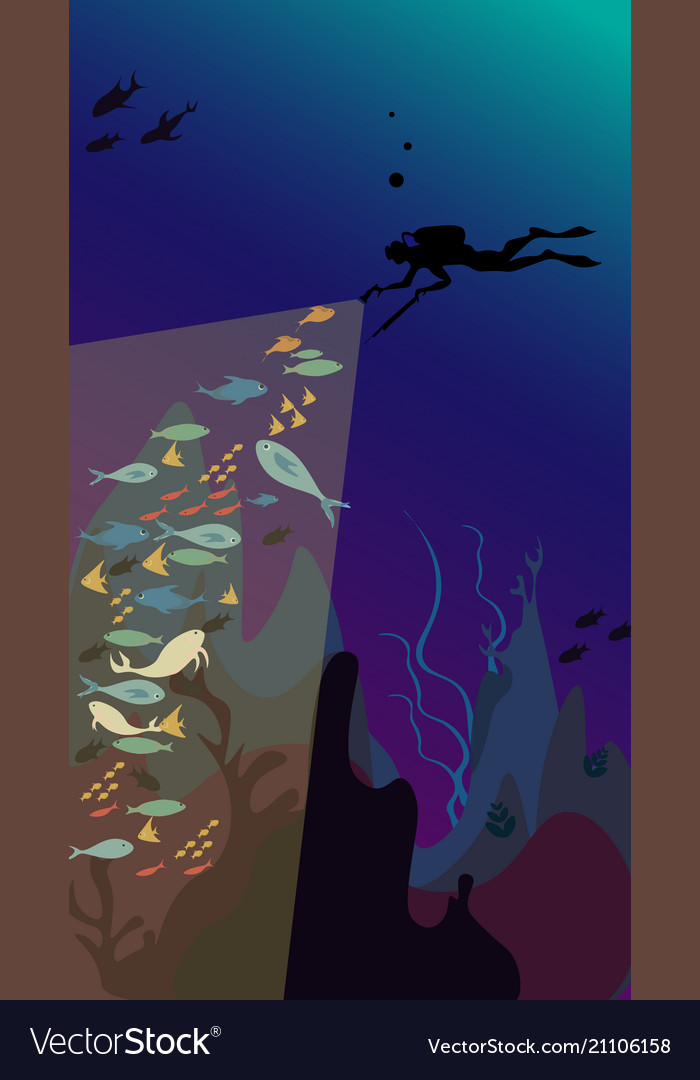 Underwater hunting - spearfisher dives under the