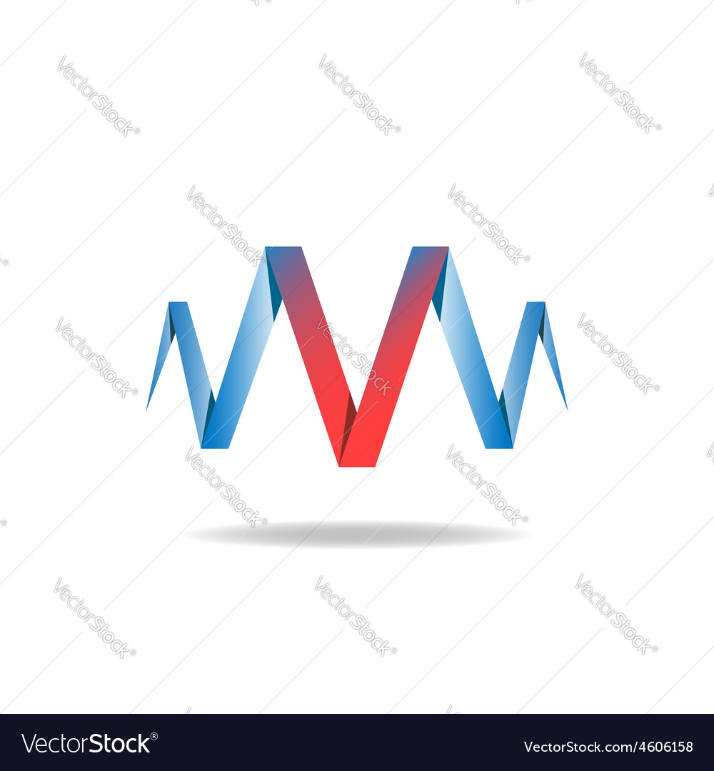 V - red letter of the blue ribbon logo idea vector art ...