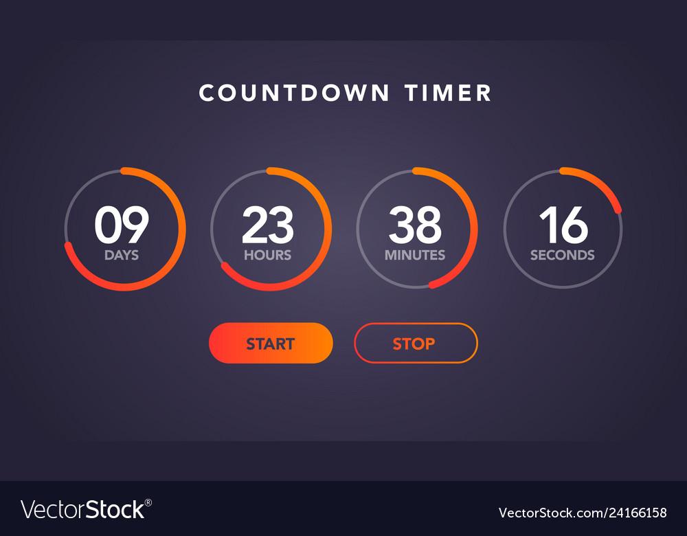 Website element flat digital clock countdown timer