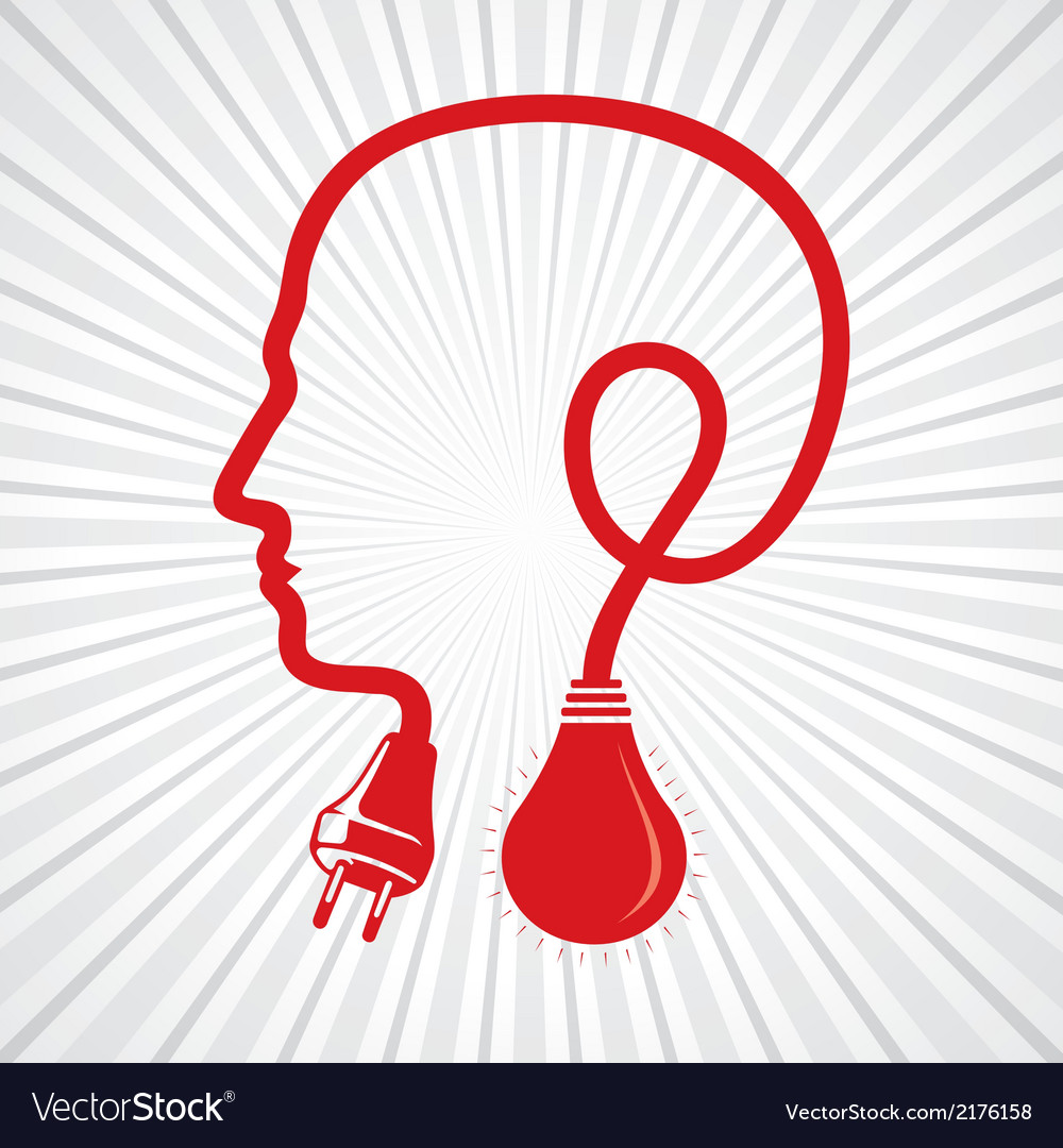 Wired human head face with bulb vector image