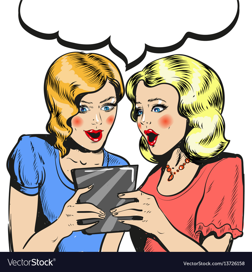 Women surprised holding tablet comic style vector image