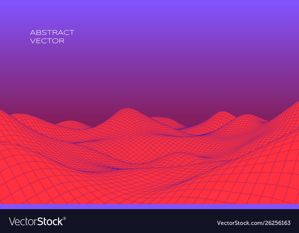 Abstract digital landscape with gradient cyber or vector