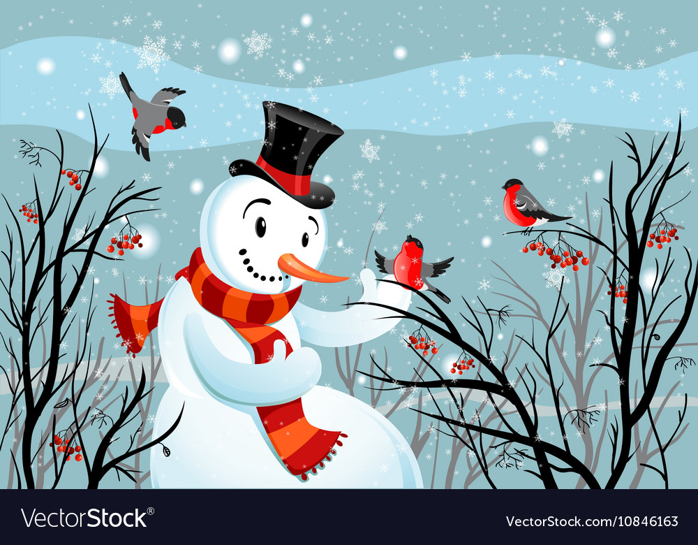Birds bullfinch and snowman