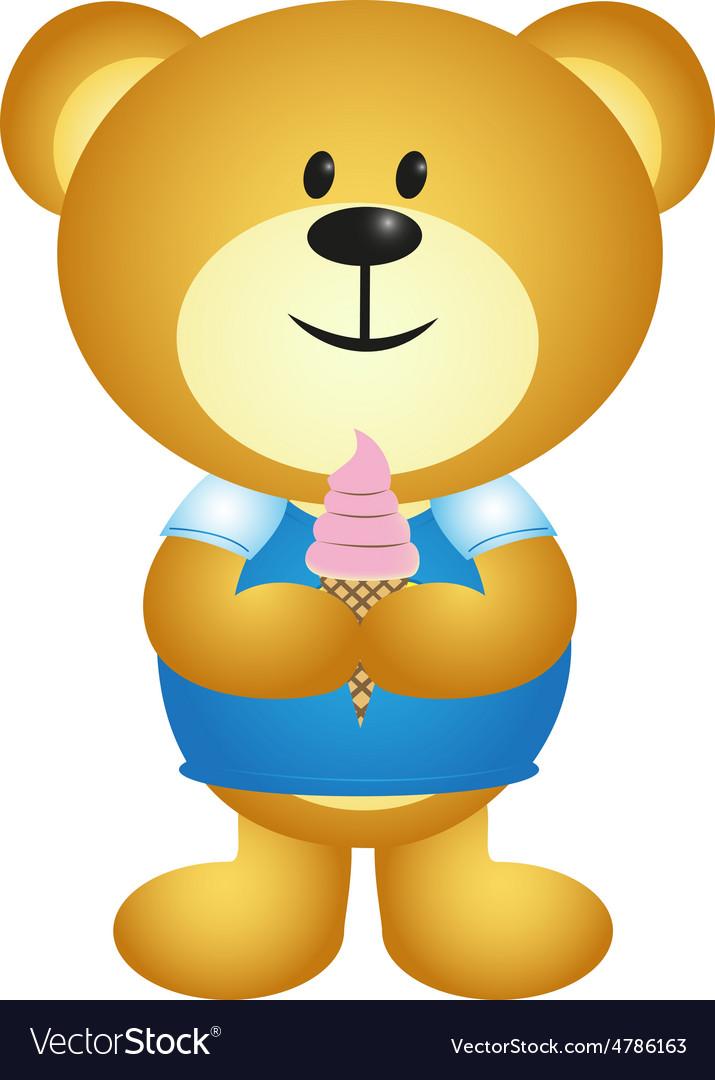 Cartoon Boy Bear Eating Ice Cream - Full Colour Vector Image