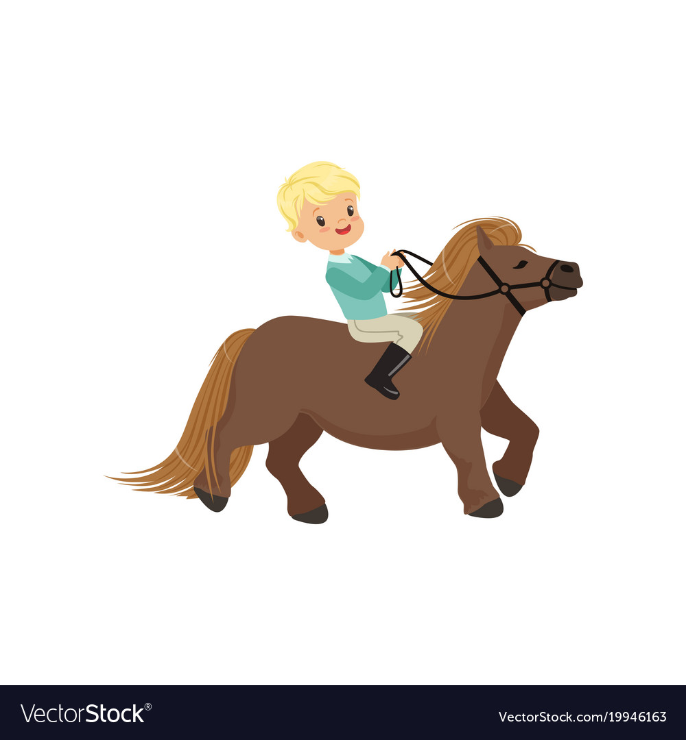 Cheerful blonde little boy riding pony horse