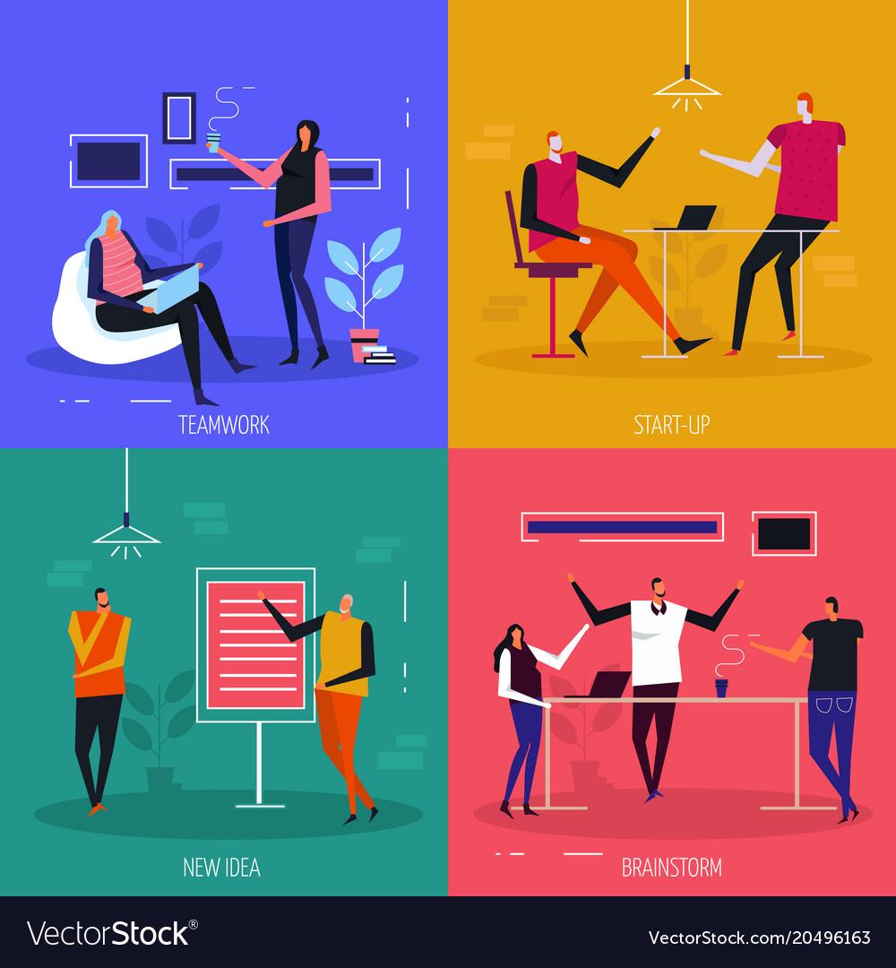 Coworking flat design concept vector image