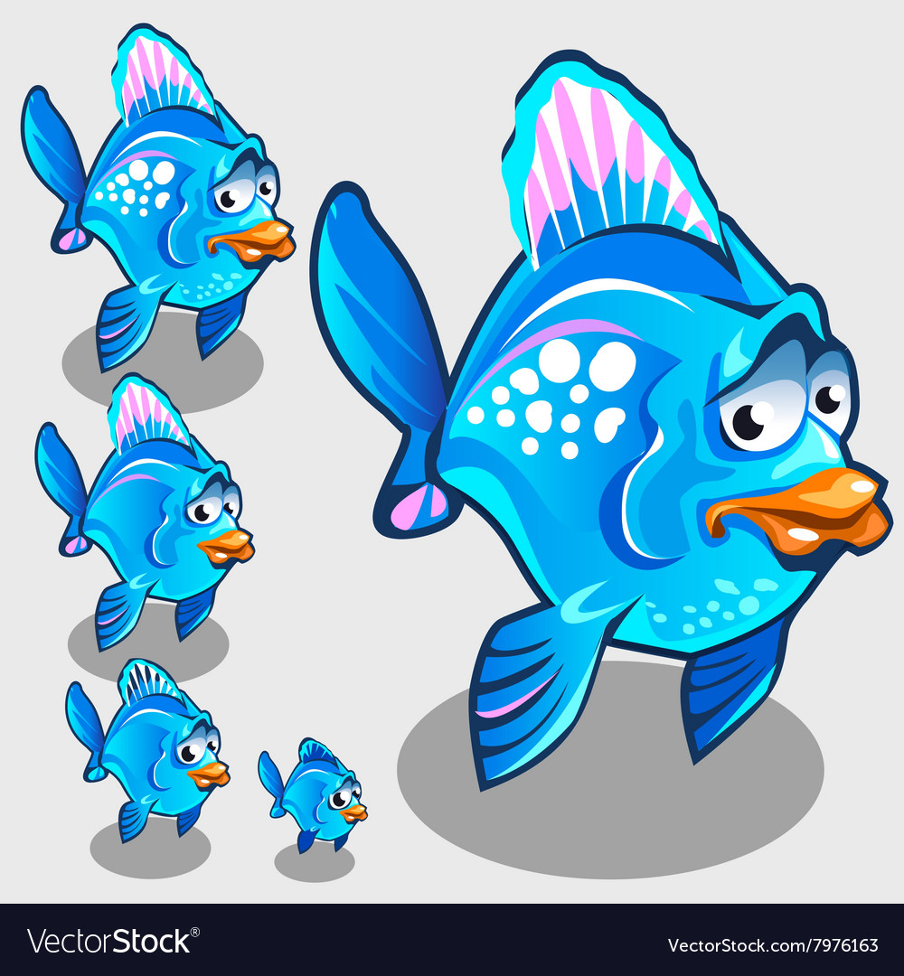 Cute blue fish with sad face character vector image