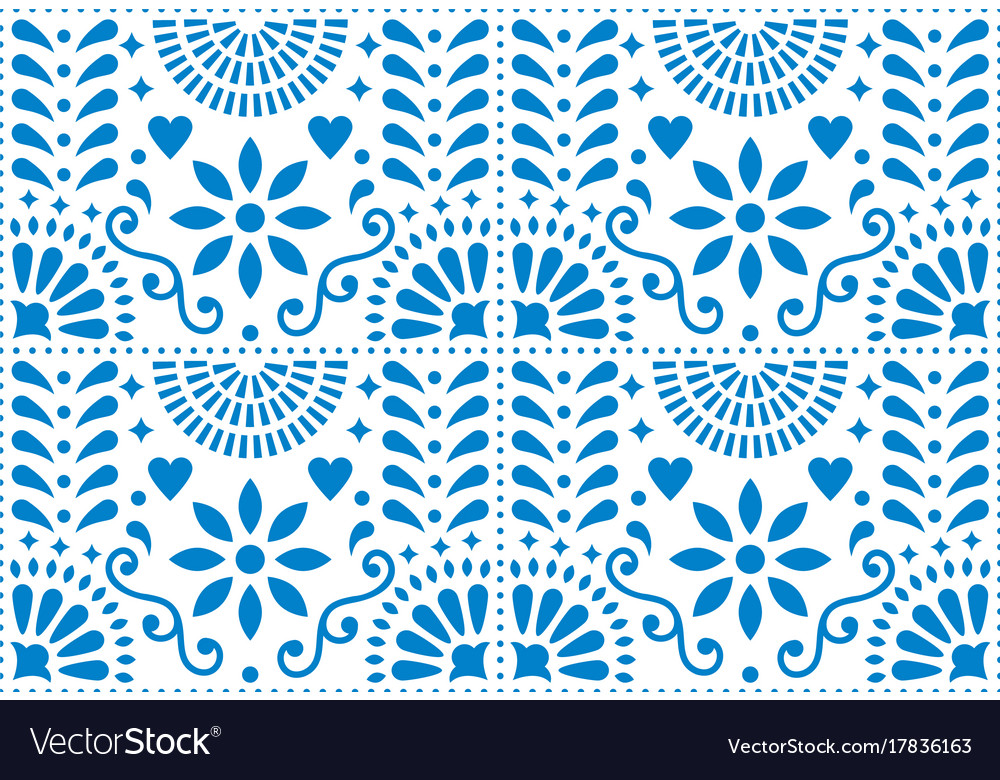 Folk art seamless pattern mexican blue