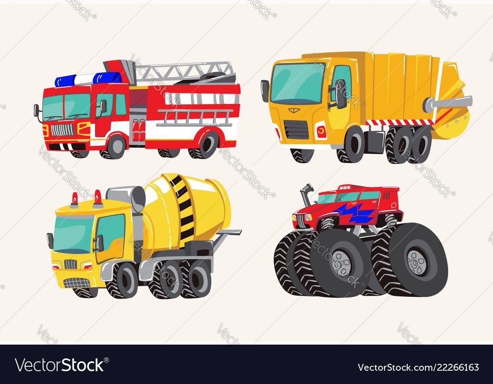 Funny cute hand drawn cartoon vehicles bright