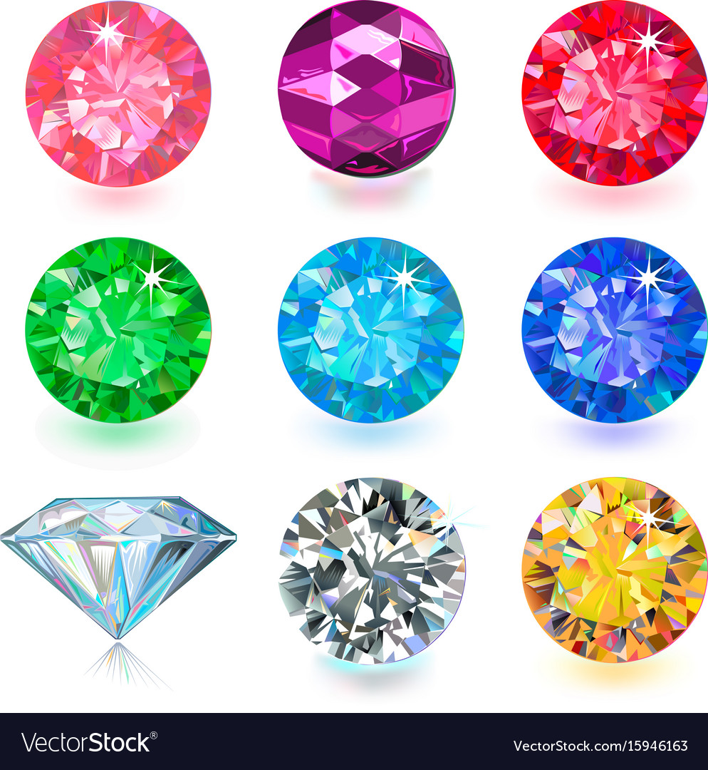 Gemstone bright flatlay set top side view vector image