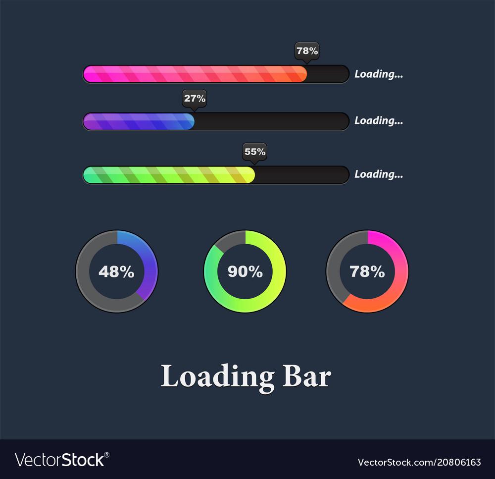 Glowing colorful loaders and progress bar set vector image