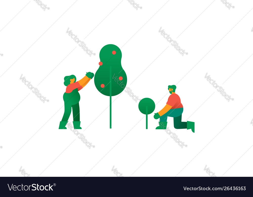 Isolated man and woman with fruit tree garden