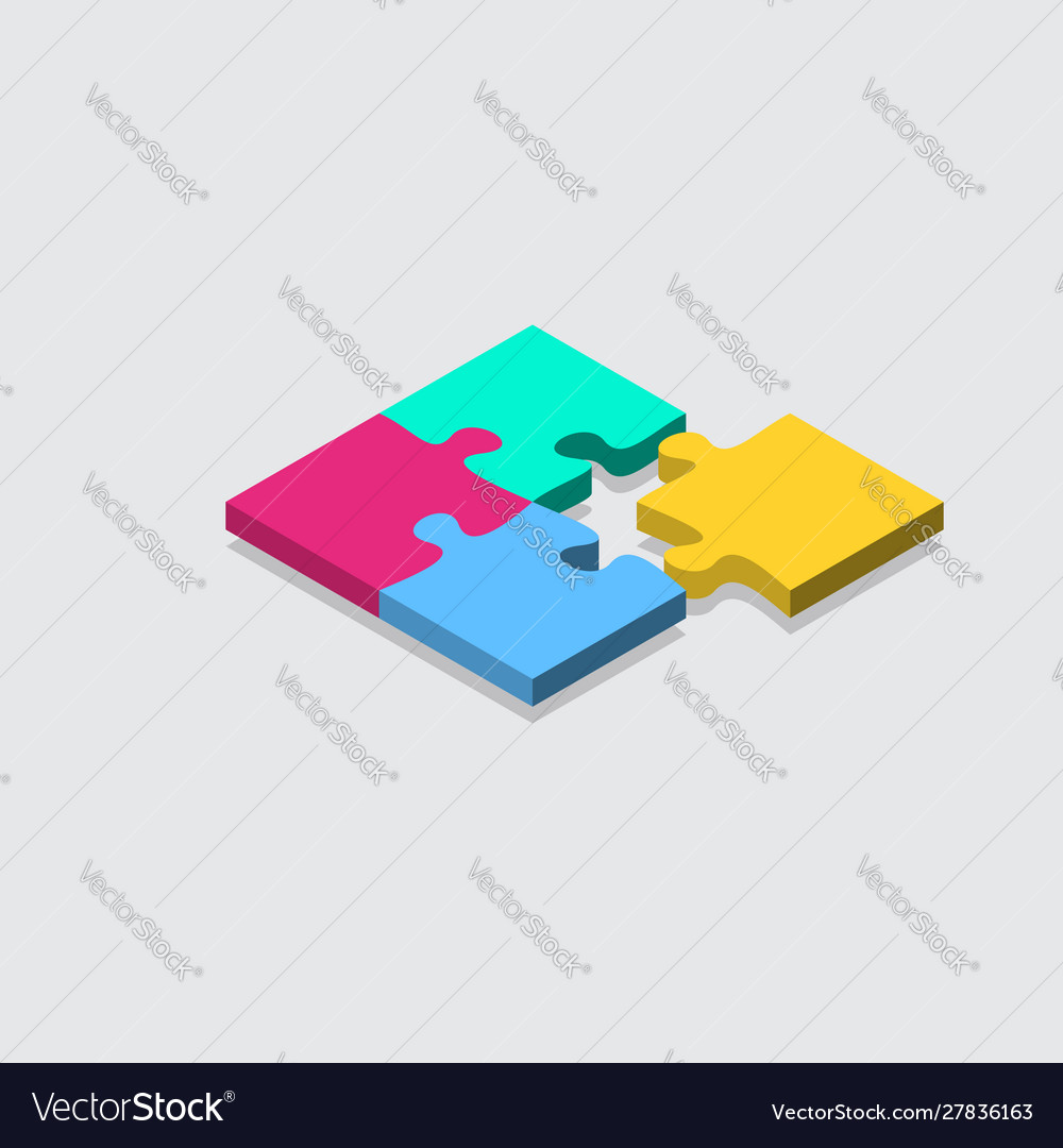 Isometric jigsaw puzzle grid background tile