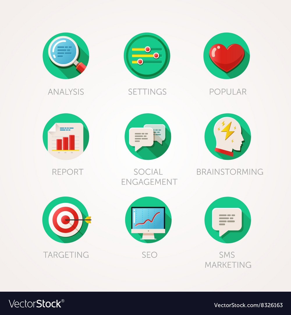 Marketing agency icons set Modern flat colored