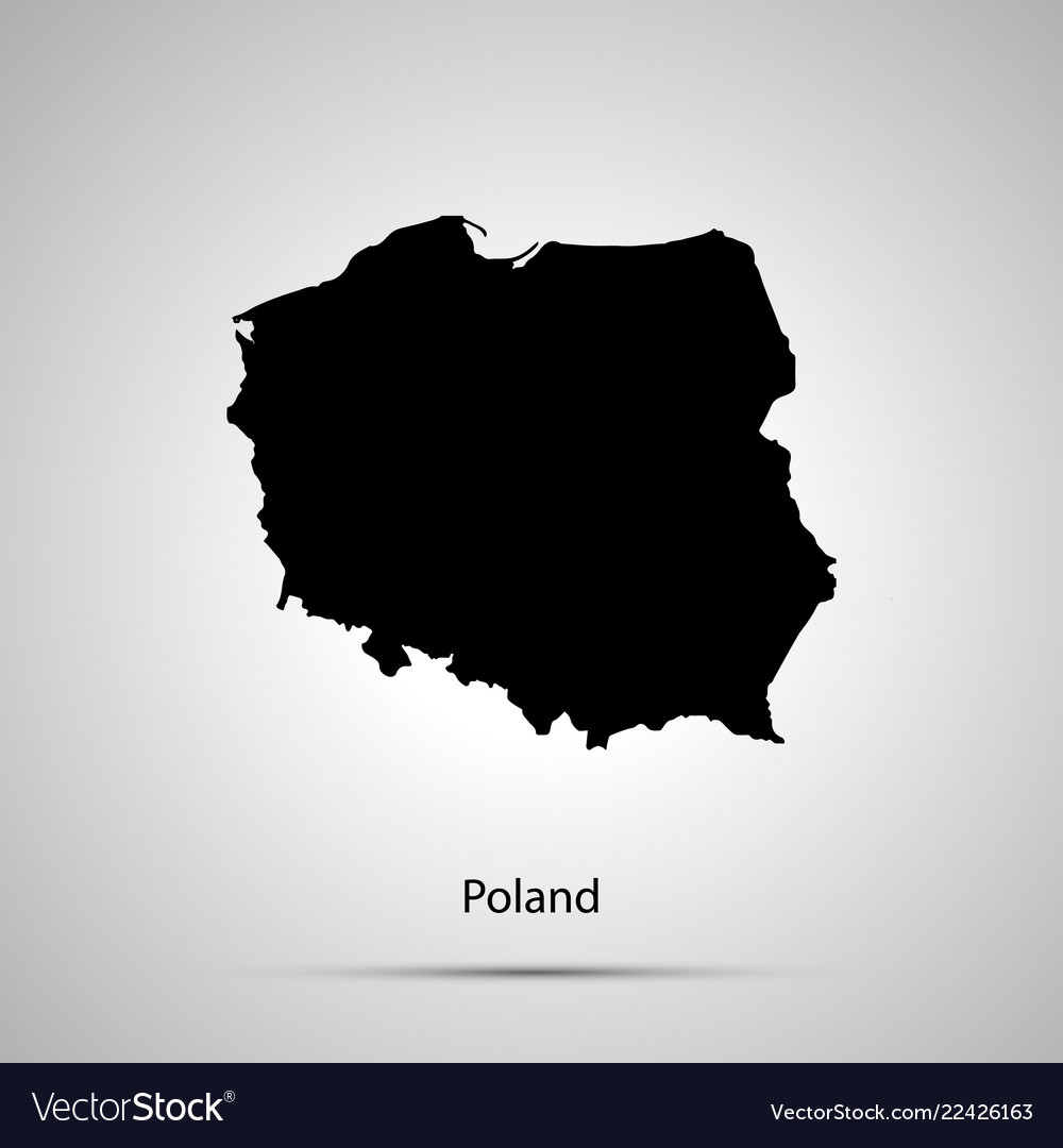 Poland country map simple black silhouette on