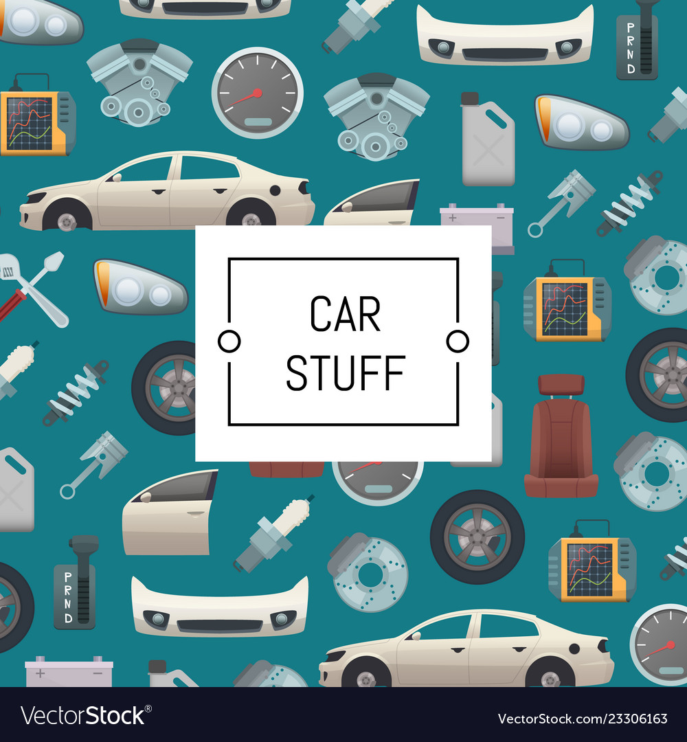Set of car parts background