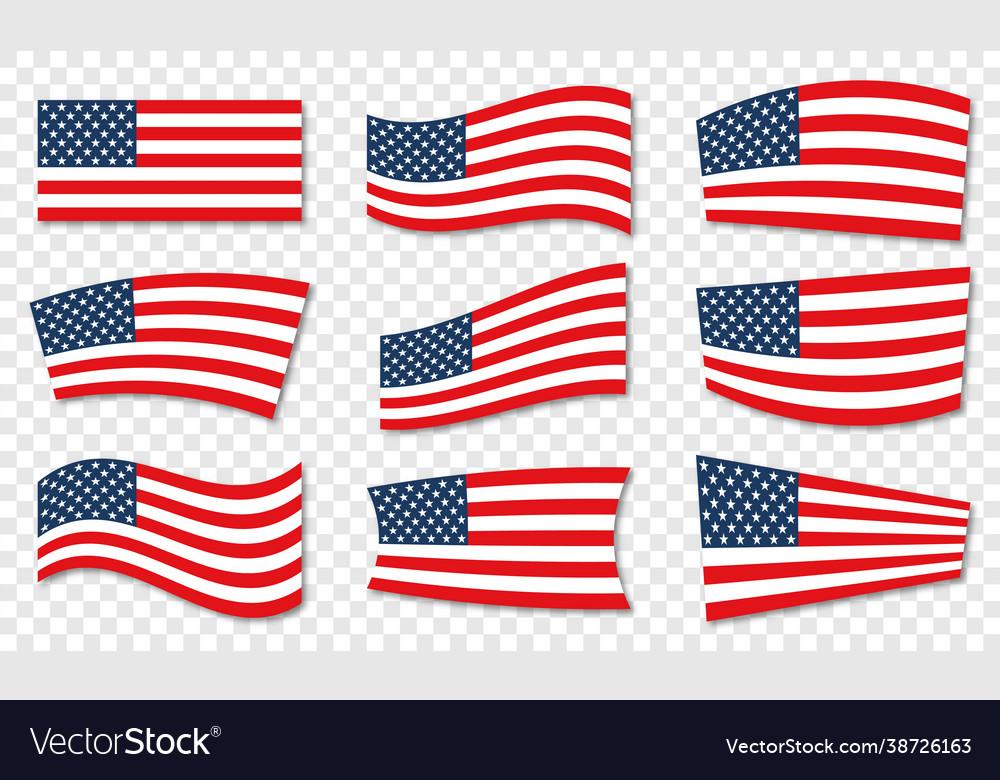 Set usa wavy flags united states patriotic