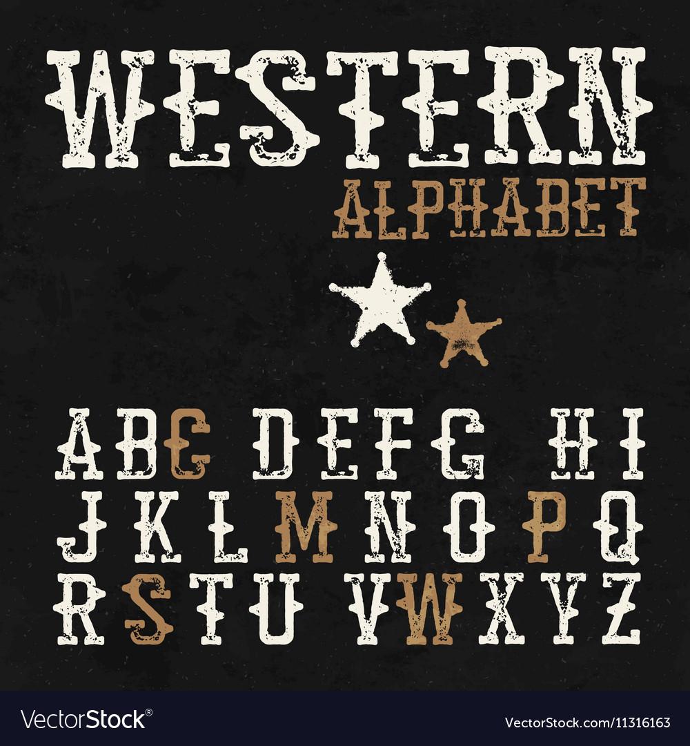 Western alphabet On the blackboard background