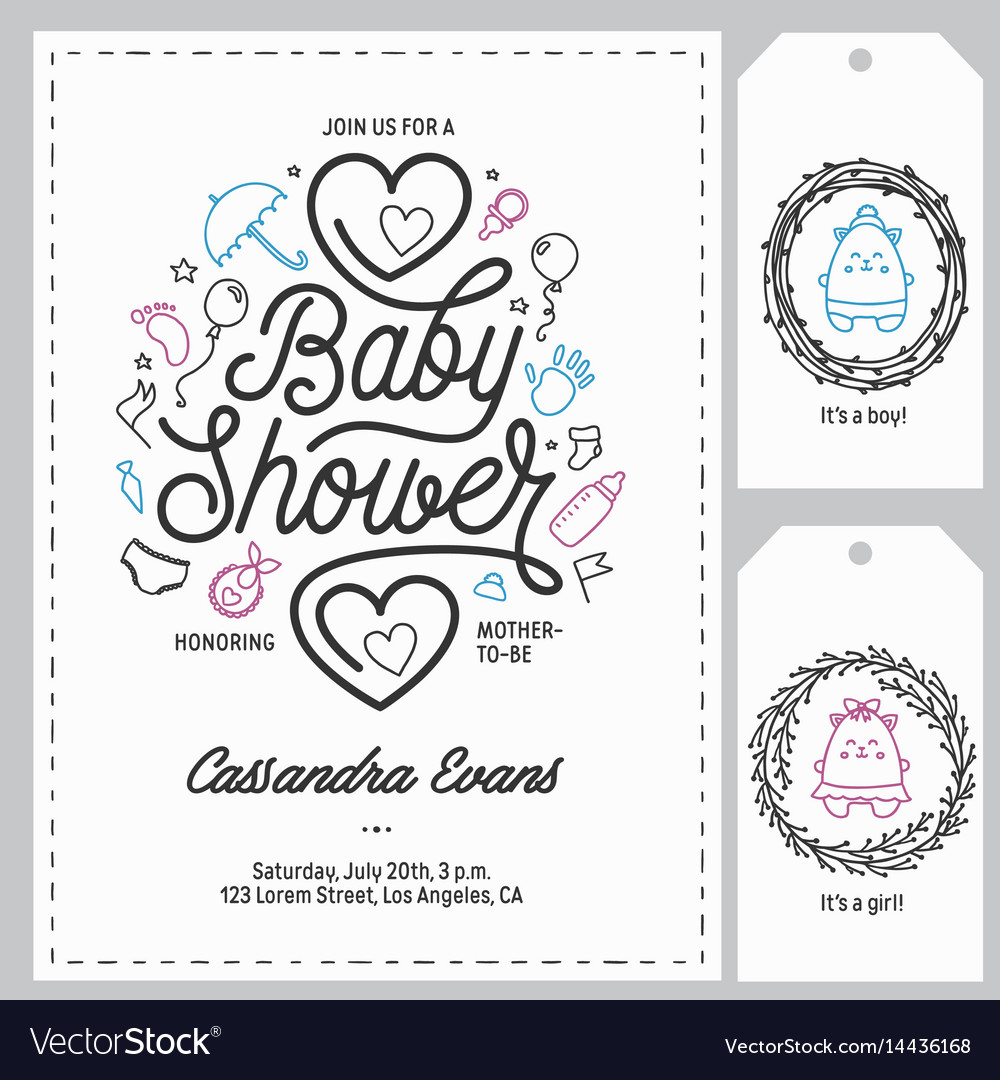 Baby shower invitation templates set hand drawn