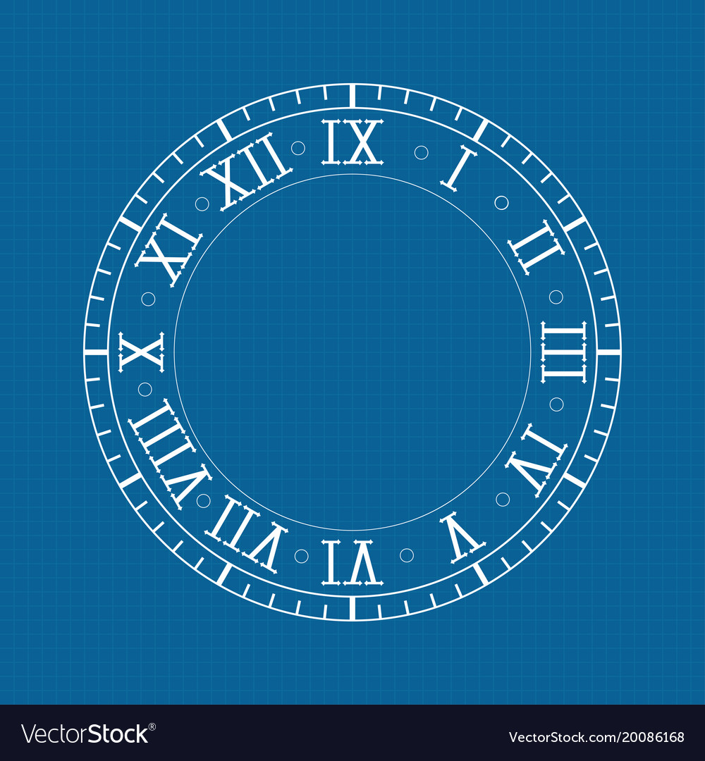 Clock with roman numerals on blue backgroud vector image