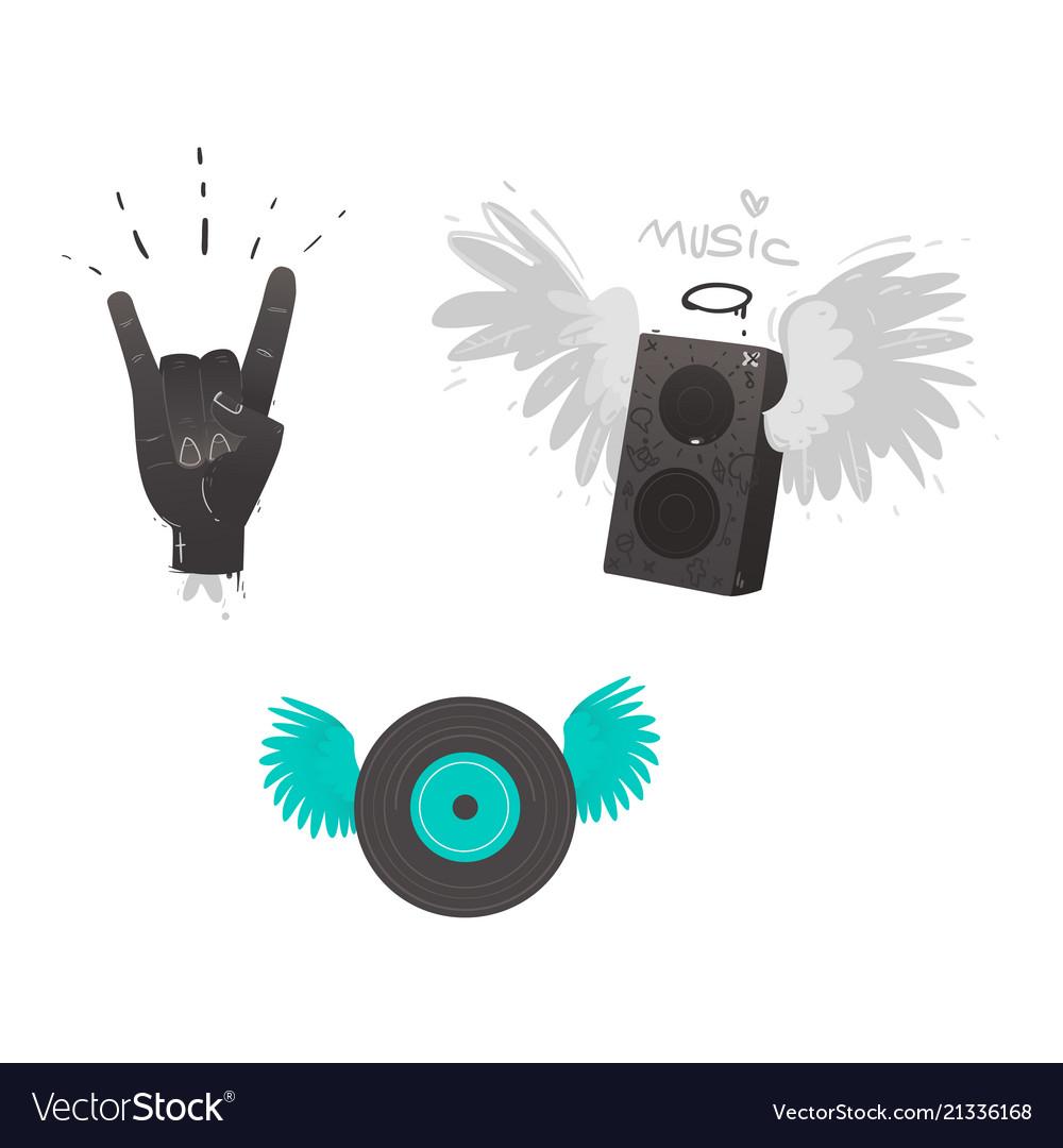 Flat music symbol vinyl guitar loudspeaker