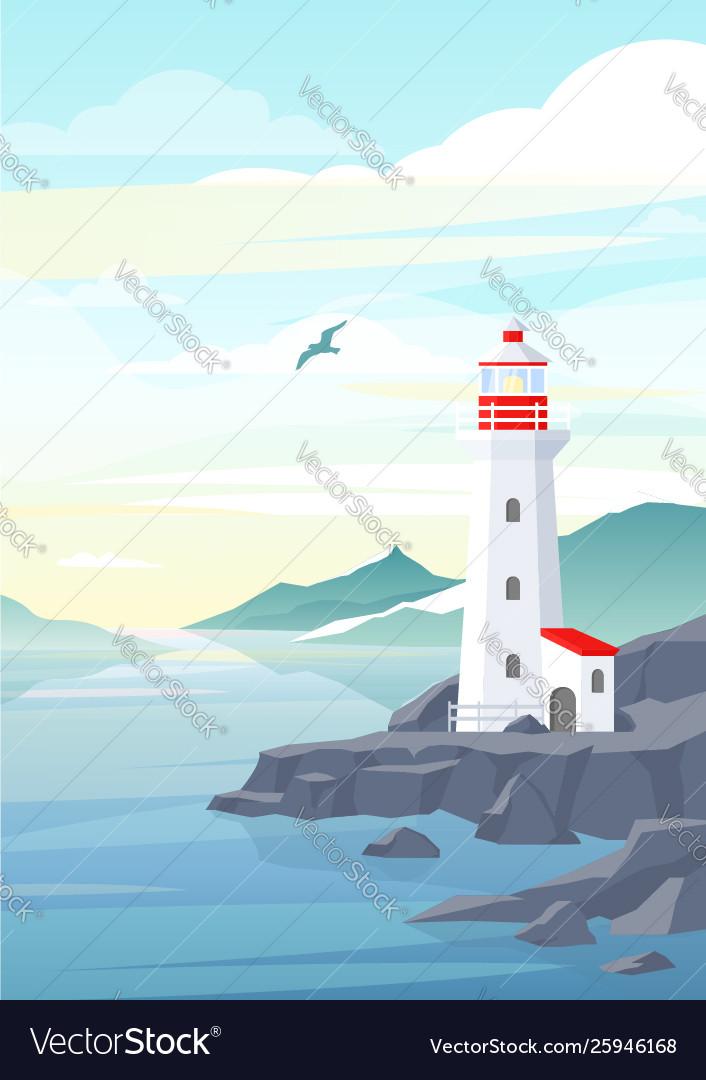 Lighthouse on rock stones island landscape