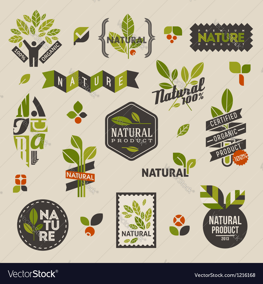 Nature labels and emblems with green leaves