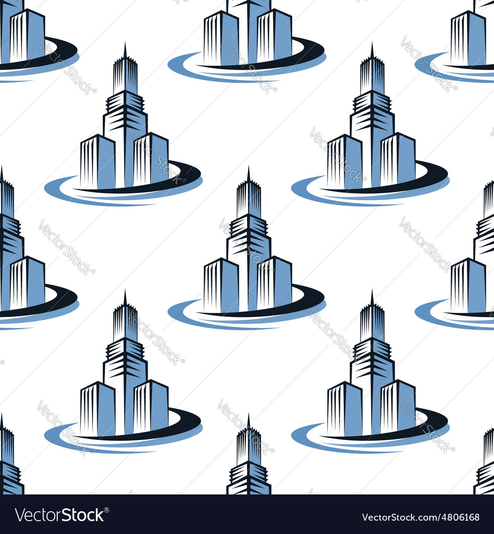 Office and skyscrapers seamless pattern vector image