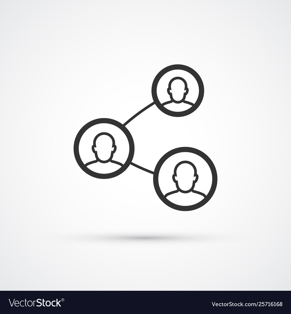 People connecting flat line trendy black icon