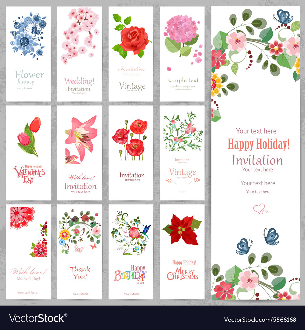 Romantic collection vertical invitation cards with