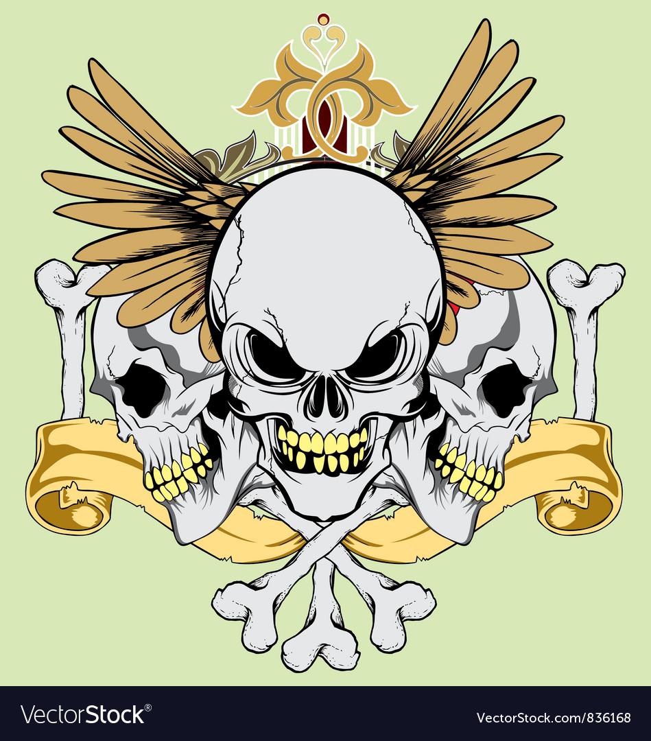 Vintage wing skull vector image