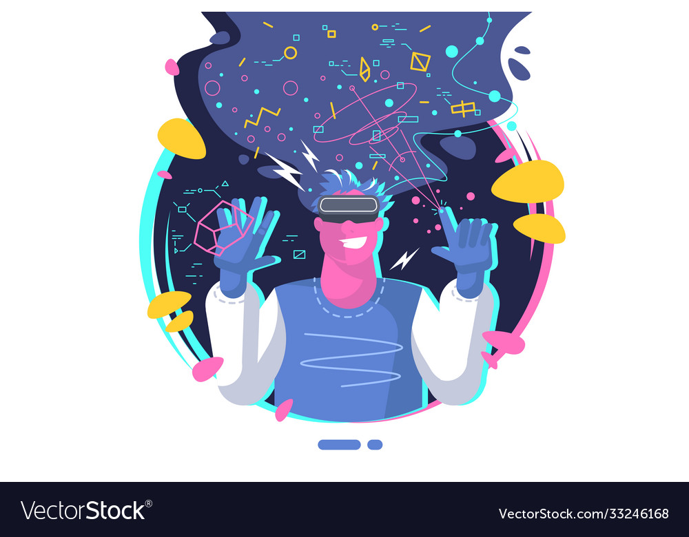 Virtual reality concept young guy wearing vr