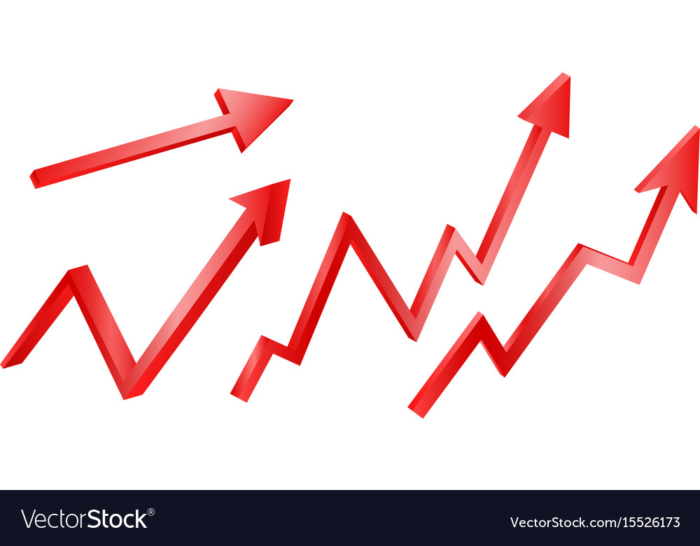 3d bright graph arrows set grow vector image