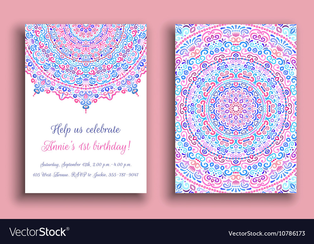 Birthday Invitation Luxury Ornament vector image