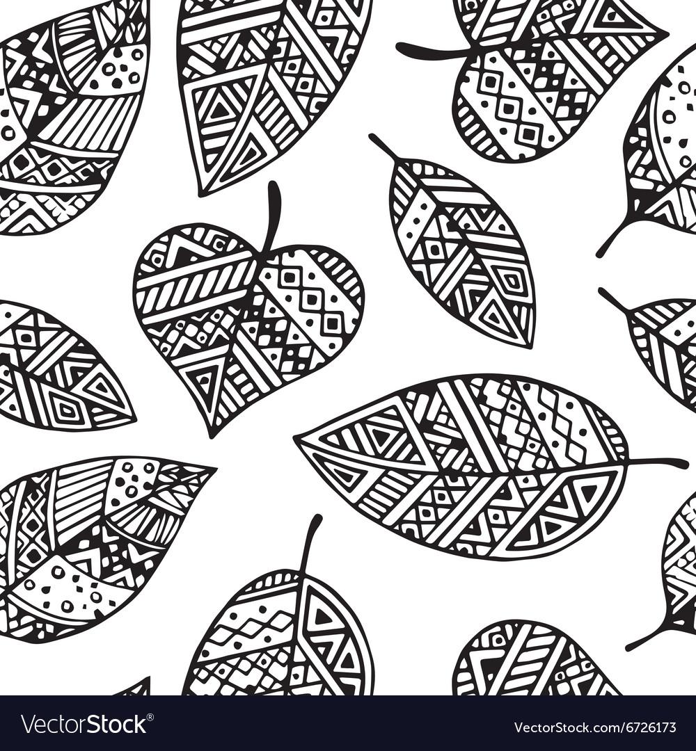 Black line graphic leaf seamless pattern pr vector image