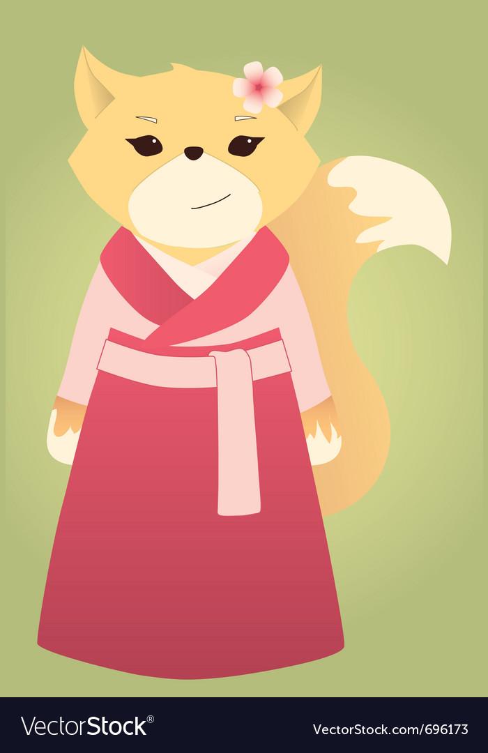 Cartoon asian fox vector image