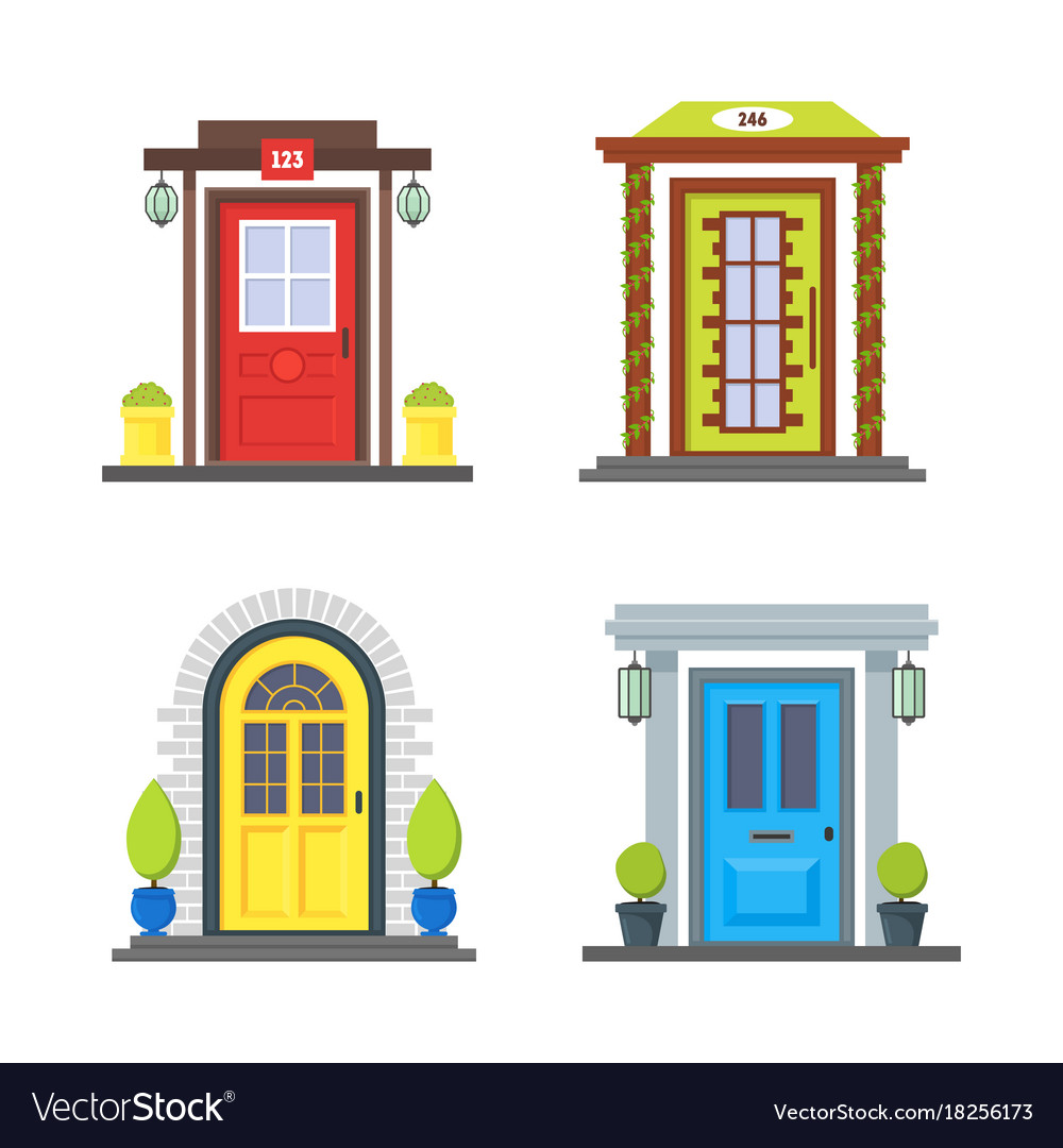 Cartoon Color Front Door Of House Icon Set Vector Image
