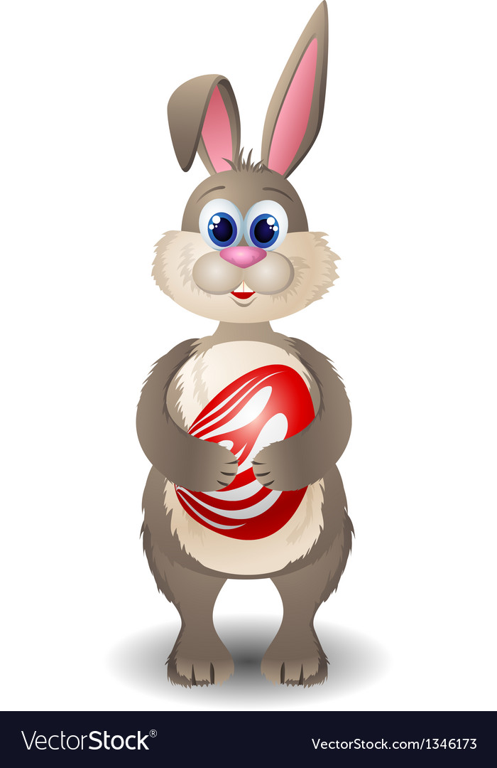 Cartoon rabbit with red egg