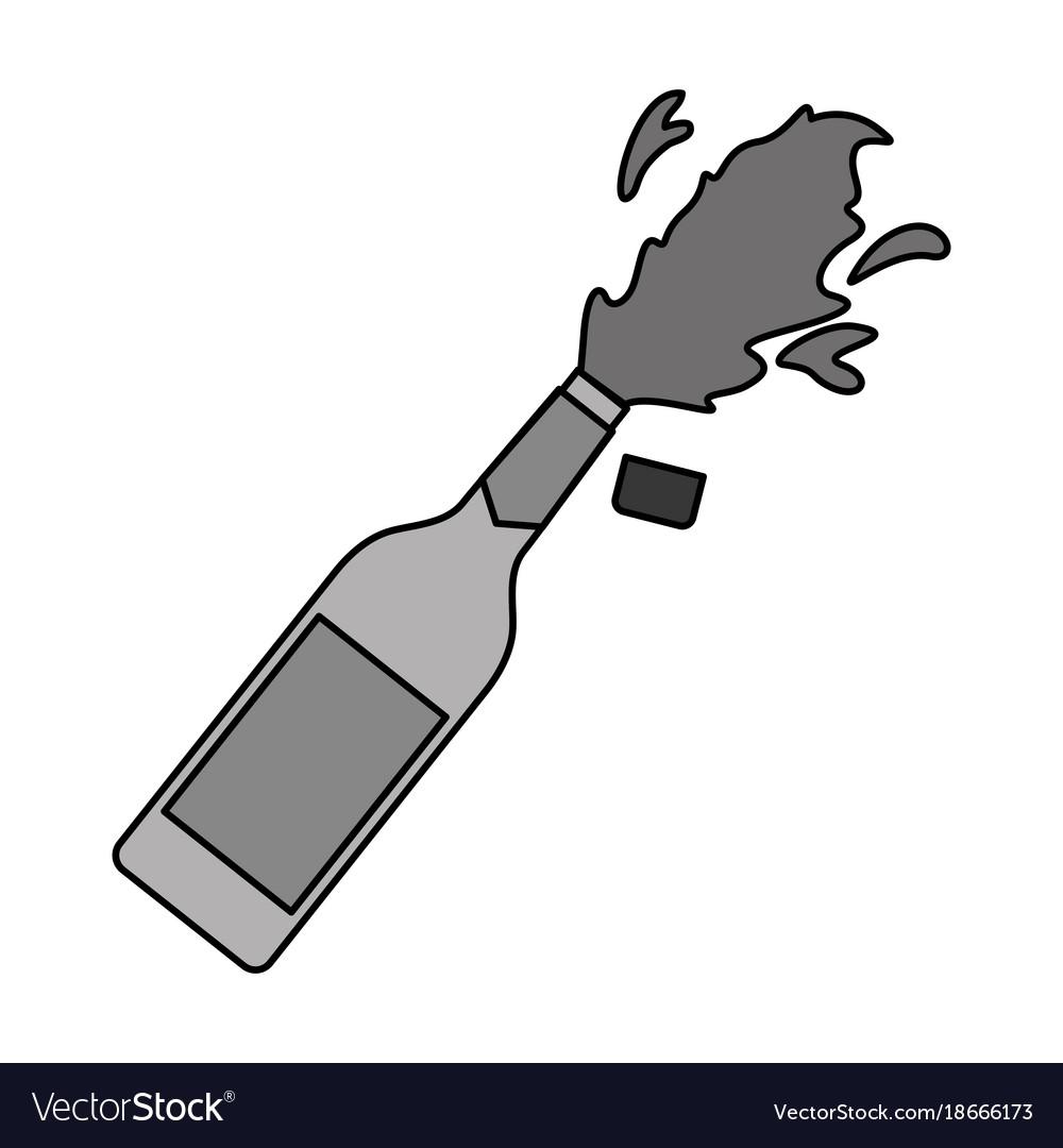 Champagne bottle cork explosion drink celebration vector image