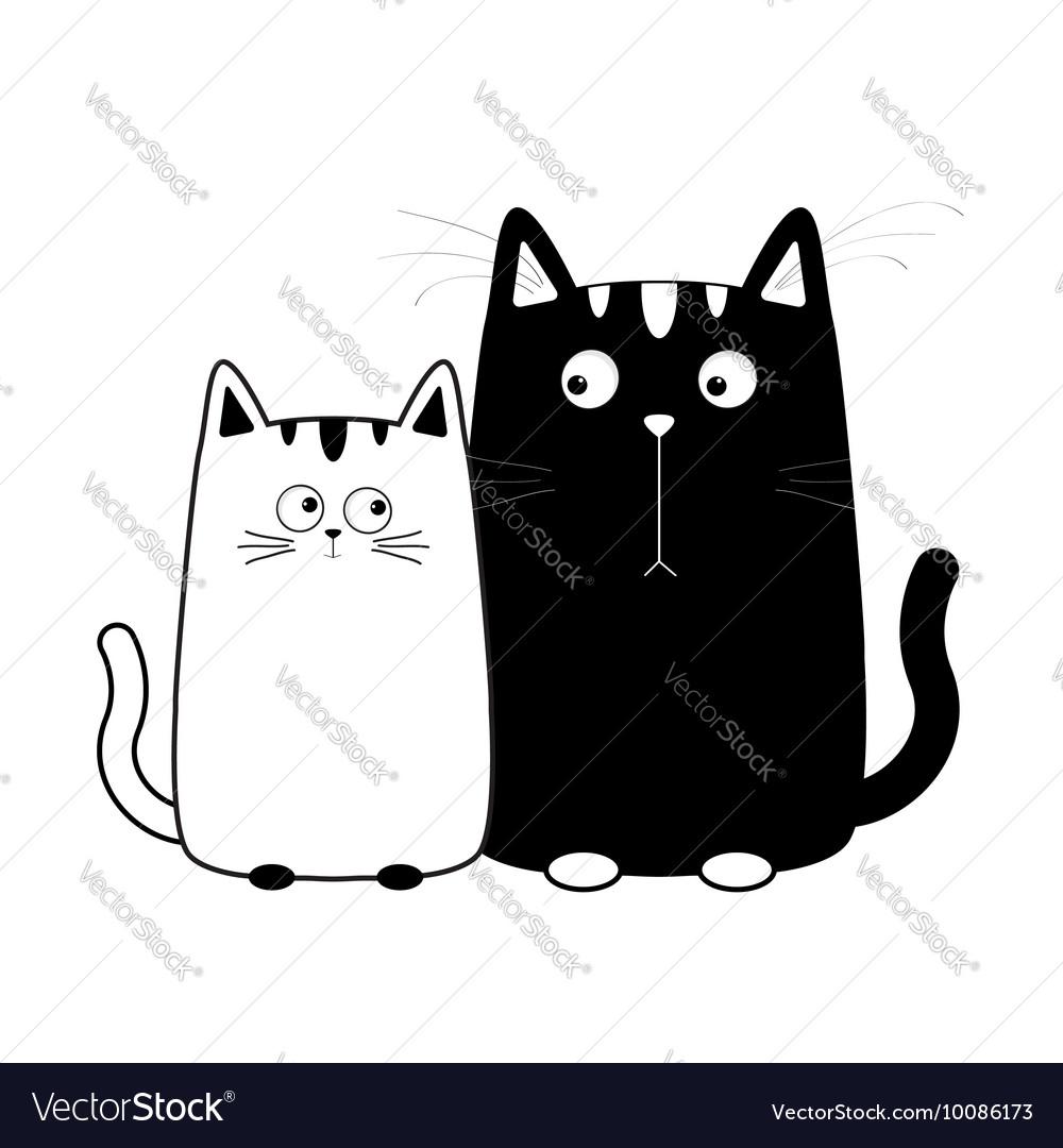 cute cartoon black white cat boy and girl kitty vector image vectorstock