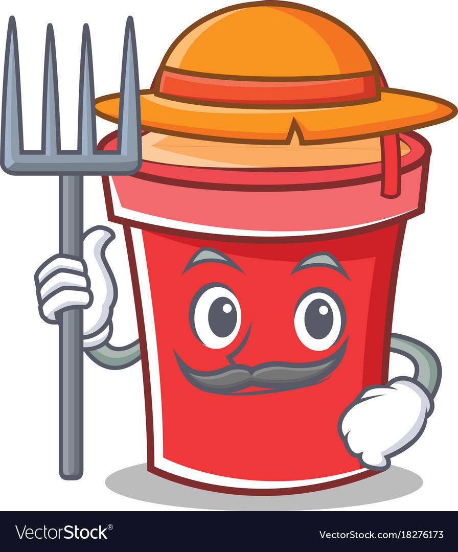 Farmer bucket character cartoon style