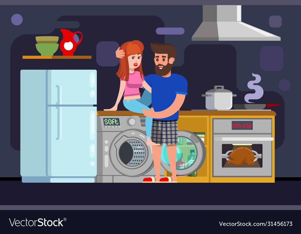 Guy sexually hugs girl kitchen sex food